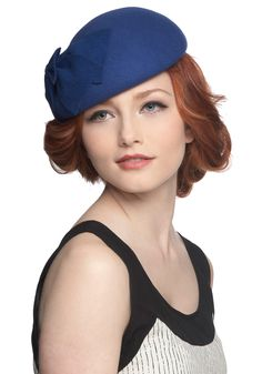 Ring of Sapphire Hat. Channel 50s glamour at tonights cocktail party with this sapphire-hued, wool felt hat positioned with posh on your gorgeous locks. #blue #modcloth