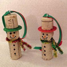 Cork Snowman Ornament
