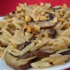 """Orzo with Mushrooms and Walnuts 