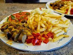 Pommes mit Currywurst (Thüringer von Taifun); vegan