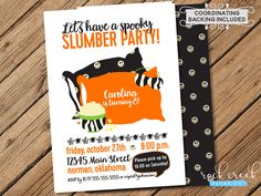 Halloween Slumber Party Invitation,  Halloween Party, Sleepover Party, Pajama Party, Printable Birthday Party Invitation by RockCreekPaperCo on Etsy
