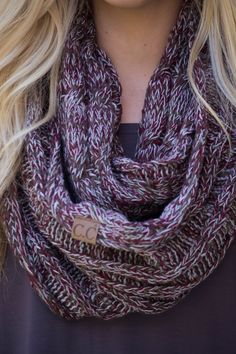 CC Exclusive: Snow One Like You Multi Tone Infinity Scarf (Maroon, Green, White)