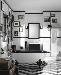 Impressive jute rugs in Bathroom Traditional with Black And White Chevron next to Kohler Artifacts alongside Black Clawfoot Tub and Chevron Floor Decor, Home, Traditional Bathroom, Bathroom Trends, Bathroom Inspiration, Black Clawfoot Tub, Interior Design, White Bathroom, Eclectic Bathroom