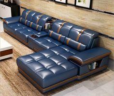 Unique Living Room Furniture, Living Room Sofa Design, Bedroom Bed Design, Sofa Furniture, Luxury Furniture, Furniture Design, Leather Corner Sofa, Best Leather Sofa, Cow Leather