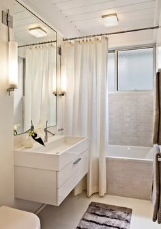 Mid-century Bathroom Design - love this grey tile with white. Someday we'll replace the vanity in the master bath.