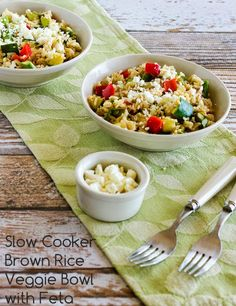 Slow Cooker Brown Rice Veggie Bowl with Asparagus, Red Bell Pepper, Zucchini, and Feta; use the slow cooker to make this delicious #MeatlessMonday dinner with rice and summer veggies and keep the house cool!  #SlowCooker #SummerDinner #GlutenFree  [from KalynsKitchen.com]