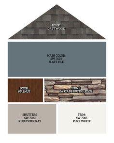 Roof: Driftwood, Main Exterior Color: SW 7624 Slate Tile, Front Door/Garage Doors: Walnut finish, Stone: Cascade Rustic Ledge, Shutter… in 2020 House Paint Exterior, Exterior House Colors, Exterior Paint Colors For House With Stone, Siding Colors For Houses, Diy Exterior Door Trim, Exterior Shutter Colors, Craftsman Exterior Colors, Vinyl Siding Colors, Garage Door Colors