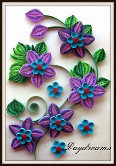 Pretty purple and blue quilled card