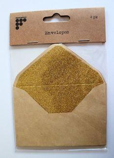 Francheville Beige Kraft Envelopes with Gold Glitter Liner Pack of 4