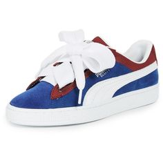 PUMA Basket Heart Colorblock Sneakers ($85) ❤ liked on Polyvore featuring shoes, sneakers, wide width sneakers, wide width shoes, laced up shoes, leather sneakers and lace up sneakers