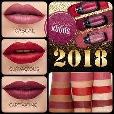 January 2018 kudos!!! 3 amazing powder-to-cream lipsticks: Casual: deep pink Curvaceous: hot red Captivating: gorgeous berry Grab yours at VampYourLashes.com