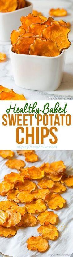 Healthy 3-Ingredient Baked Sweet Potato Chips Recipe (Vegan, Paleo & Gluten Free!) | http://ASpicyPerspective.com