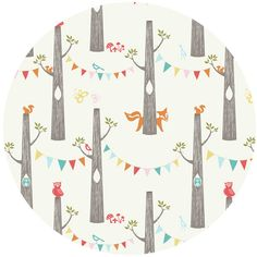 I have several pieces from this line, but I don't have this one...love the bunting banner: perfect to make up into a party dress. {Monaluna Circa 52, Organic Cotton, Woodland Party, for Birch}