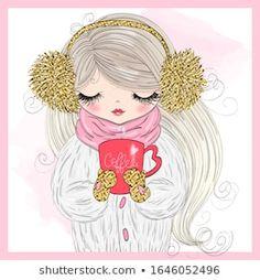 Hand drawn beautiful cute winter girl with coffee in his hand. Cute Cartoon Girl, Cartoon Girl Drawing, Little Girl Drawing, Winter Girl, Cute Girl Illustration, Happy Birthday Girls, Girl Clipart, Cute Girl Wallpaper, Free Illustrations