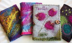 Over the Moon, Needle map 4 samples and w/stitching Wet Felting, Needle Felting, Felt Cover, Wool Applique Patterns, Felt Pictures, Needle Book, Felt Art, Bead Crochet, Felt Crafts