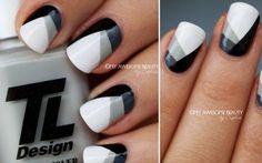 mono chrome nail design