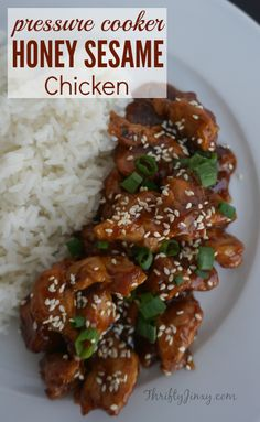 Skip the Chinese take-out and make your own stir-fry style dish with this easy Pressure Cooker Honey Sesame Chicken recipe It s simple to prepare and will quickly become a weeknight dinner favorite Power Pressure Cooker, Pressure Cooker Chicken, Instant Pot Pressure Cooker, Chicken Cooker, Pressure Pot, Pressure Cooker Ribs, Slow Cooker, Ip Chicken, Pressure Canning