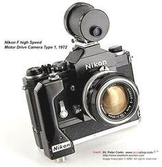 Front section view of 7 frames per second  Nikon F High Speed Camera w/ Special Zoom Finder, 1972