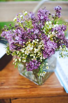 Austin Wedding by Sweet Caroline Photo Purple Flower Arrangements, Purple Flowers, Sweet Caroline, Wedding Coordinator, Lilac, Glass Vase, Floral Design, Plants, Photography