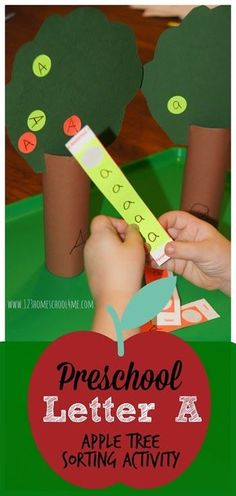 Letter A - Apple Tree Sorting Activity. This is such a fun hands on alphabet activity for toddler, preschool, and kindergarten age kids perfect for fall. Preschool Apple Theme, Apple Activities, Preschool Letters, Toddler Learning Activities, Preschool Curriculum, Preschool Lessons, Learning Letters, Alphabet Activities, Preschool Activities