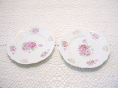 Delicate Pink & Lavender Floral Salad Plates With Gold Accents Set 2