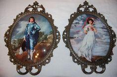 """17"""" Vintage Antique Brass Cast Metal 10x12 Blue Boy & Pinkie Convex Bubble Glass"""