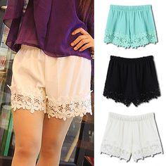 2014 Women Shorts Chiffon Shorts High Waist Flower Crochet Lace Short Pants