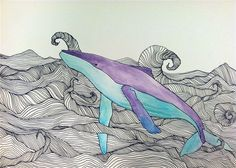 whale. watercolor, pen and ink.