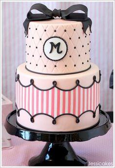 Black and pink fashion fairytale birthday cake. girl-theme