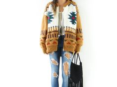 Vintage hand knit boyfriend cardigan sweater with tribal pattern
