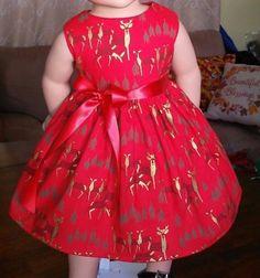 Doll Clothes/Handmade/18 Inches/American Girl Dolls/Golden Reindeer Dress. #Handmade