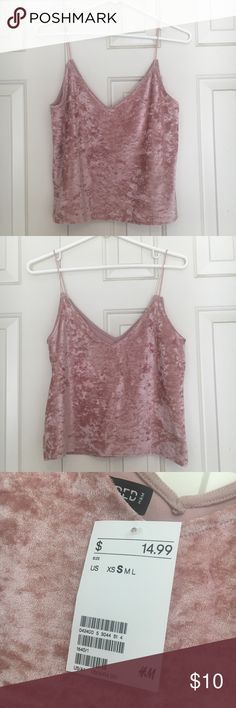 PINK VELVET TOP 🌸never worn, new with tags! Purchased from h&m🌸 Divided Tops Crop Tops