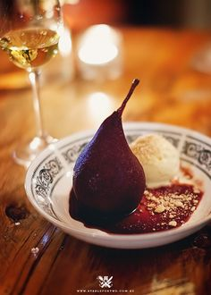 Red wine poached pear with ginger gelato at The Beltree Trattoria, Hunters Valley, NSW, Australia.