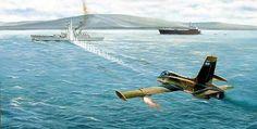 Detalle de una de las pinturas alusivas al momento del ataque a la Argonaut. Navy Aircraft, Military Aircraft, Military Art, Military History, Plymouth, The Art Of Flight, Falklands War, War Thunder, Airplane Art