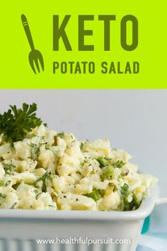 "A paleo and keto ""potato"" salad... with no potatoes at all! Made with clean low-carb, keto ingredients. Can be made vegan, too. #keto #salad #greens #paleo #lowcarb #ketosis #ketogenic #recipe"
