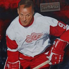 """""""Mister Hockey"""" - Gordie Howe won the NHL's MVP award and scoring title six times each. Watercolorist Glen Green has honored the Detroit Red Wing's legend. Incredibly, """"Mister Hockey"""" competed in the NHL in five decades born in Saskatchewan Detroit Hockey, Steve Yzerman, Bobby Hull, Hockey Pictures, Red Wings Hockey, Hockey World, Go Red, Sport Icon, Hockey Cards"""