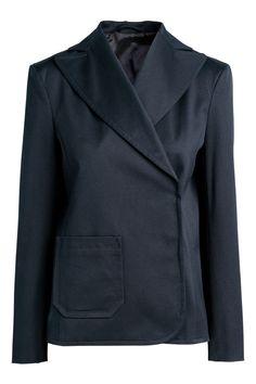 Пиджак из твила - Темно-синий - | H&M RU 1
