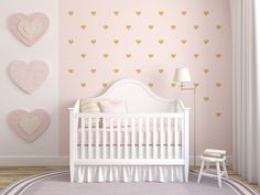 Small Heart Wall Decals for Baby Girl's Room or modern home - Gold, Pink, White hearts - Set of 60