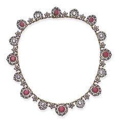 A RUBY AND DIAMOND NECKLACE, BY MARIO BUCCELLATI   Designed as a series of alternating circular-cut ruby or rose-cut diamond clusters, each set within independent table-cut diamond surrounds, spaced by rose-cut diamond florets, mounted in silver topped gold, 15½ ins., in a Mario Buccellati gray leather fitted case  Signed M. Buccellati for Mario Buccellati