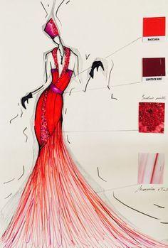 Robe de soirée en satin rouge et mauve aubergine . Le bas de la robe est composée de mousseline et Tulle. Certaines parties sont perlées . Robe de soirée crée pour une occasion spéciale et pour mettre en valeur la femme.