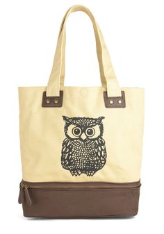 Owl Tote Your Things Bag - @Stacy LaRow  the bottom part of the bag can unzip and you can keep your lunch in there