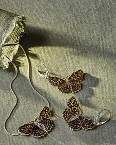 Baltic Amber Butterfly Necklace and Earrings - alt1