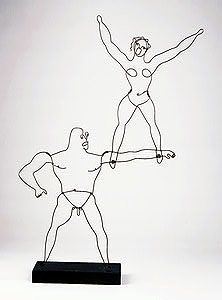 """Two Acrobats, c. 1928  Wire, wood, and paint  37 11/16"""" x 27"""" x 6 1/8""""  Honolulu Academy of Arts, Hawaii  A01688"""