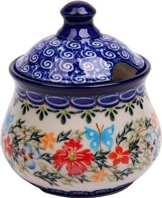 Polish Pottery Ceramika Boleslawiec,  0051/238, Sugar Bowl Iza, 1 Cup, Royal Blue Patterns with Red Cornflower and Blue Butterflies Motif by Lidia's Polish Pottery, Inc., http://www.amazon.com/dp/B006BE7DS6/ref=cm_sw_r_pi_dp_BExJpb13MS7NY