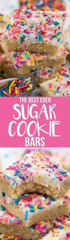 These are the BEST EVER Sugar Cookie Bars recipe! They're soft and tender and chewy and covered with the best buttercream sugar cookie frosting EVER. This recipe is easy and fast and who doesn't love a sugar cookie bar?? via @crazyforcrust