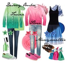 """""""Disney Ombre Fauna, Flora & Merryweather"""" by amarie104 ❤ liked on Polyvore featuring Lancôme, Dolce&Gabbana, Stila, BKE core, Mossimo, Tarina Tarantino, T By Alexander Wang, Band of Outsiders, Clinique and Converse"""