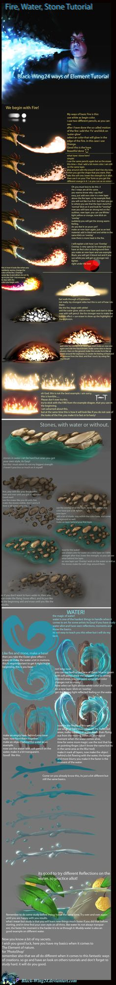 Fire, Stone and Water Tutorial by *Black-Wing24