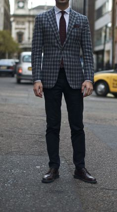 Shop this look on Lookastic: http://lookastic.com/men/looks/dress-pants-and-tie-and-dress-shirt-and-blazer-and-derby-shoes-and-pocket-square/411 — Black Dress Pants — Burgundy Floral Tie — White Dress Shirt — Plaid Blazer — Burgundy Leather Derby Shoes — Burgundy Floral Pocket Square