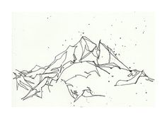Mountain Line Drawing Print 5x7 by cleverfigstudios on Etsy.