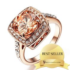 Cushion Cut Champagne Swarovski Crystal Ring by Bee's Knees Vintage Gems | Bee's Knees Gems